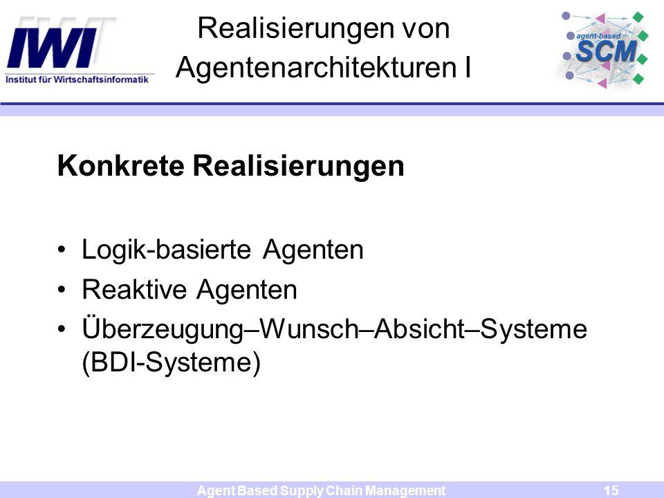 Agent Based Supply Chain Management15 Realisierungen von Agentenarchitekturen I Konkrete Realisierungen Logik-basierte Agenten Reaktive Agenten Überzeugung–Wunsch–Absicht–Systeme (BDI-Systeme)