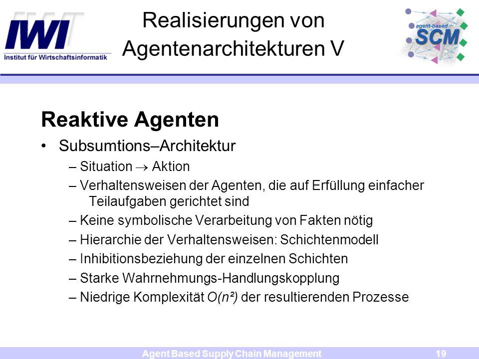Agent Based Supply Chain Management19 Realisierungen von Agentenarchitekturen V Reaktive Agenten Subsumtions–Architektur – Situation Aktion – Verhalte