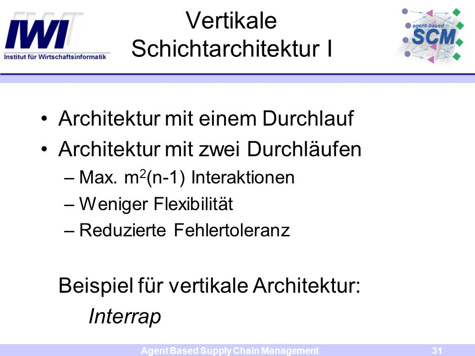 Agent Based Supply Chain Management31 Vertikale Schichtarchitektur I Architektur mit einem Durchlauf Architektur mit zwei Durchläufen –Max. m 2 (n-1)