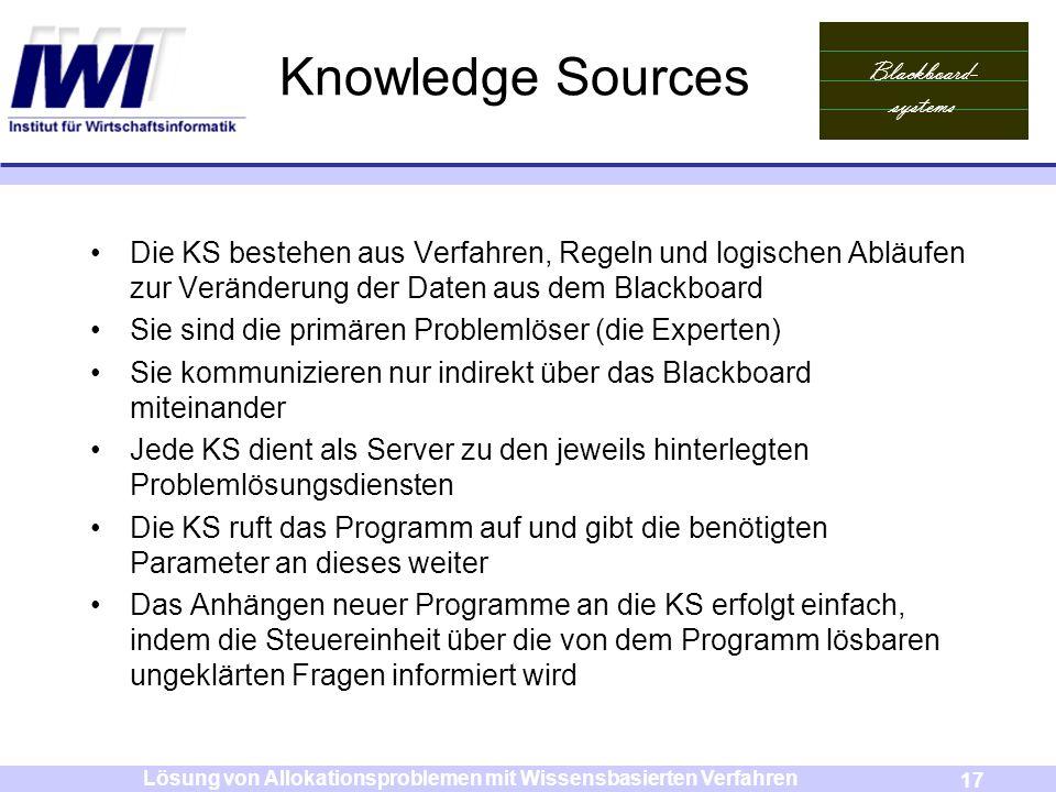 Blackboard- systems 17 Lösung von Allokationsproblemen mit Wissensbasierten Verfahren Knowledge Sources Die KS bestehen aus Verfahren, Regeln und logi