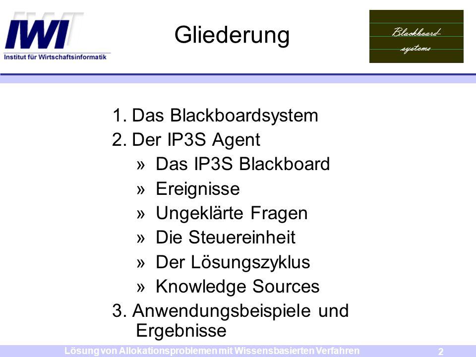 Blackboard- systems 2 Lösung von Allokationsproblemen mit Wissensbasierten Verfahren Gliederung 1.Das Blackboardsystem 2.Der IP3S Agent »Das IP3S Blac