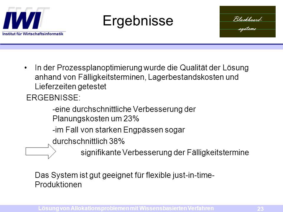 Blackboard- systems 23 Lösung von Allokationsproblemen mit Wissensbasierten Verfahren Ergebnisse In der Prozessplanoptimierung wurde die Qualität der