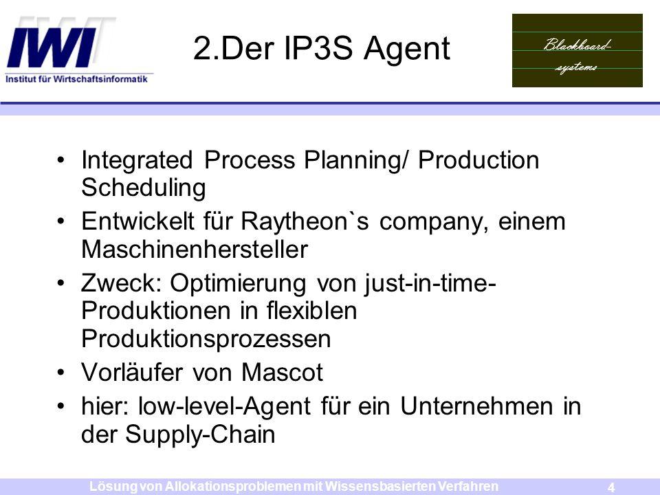 Blackboard- systems 4 Lösung von Allokationsproblemen mit Wissensbasierten Verfahren 2.Der IP3S Agent Integrated Process Planning/ Production Scheduli