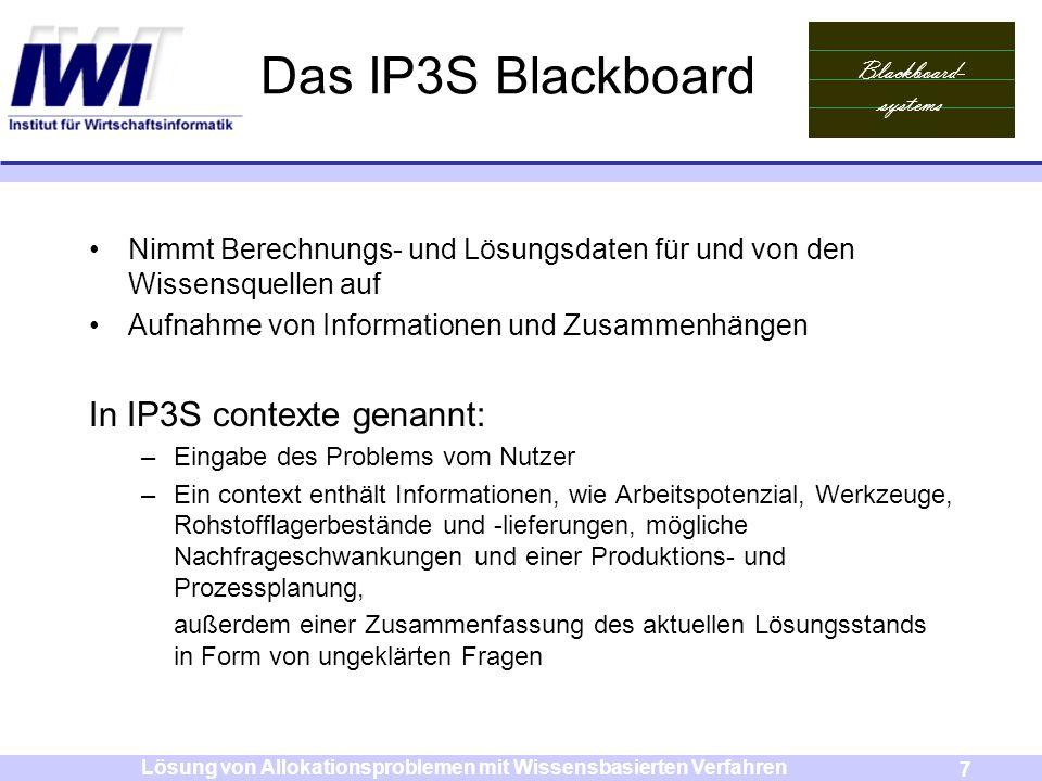 Blackboard- systems 7 Lösung von Allokationsproblemen mit Wissensbasierten Verfahren Das IP3S Blackboard Nimmt Berechnungs- und Lösungsdaten für und v