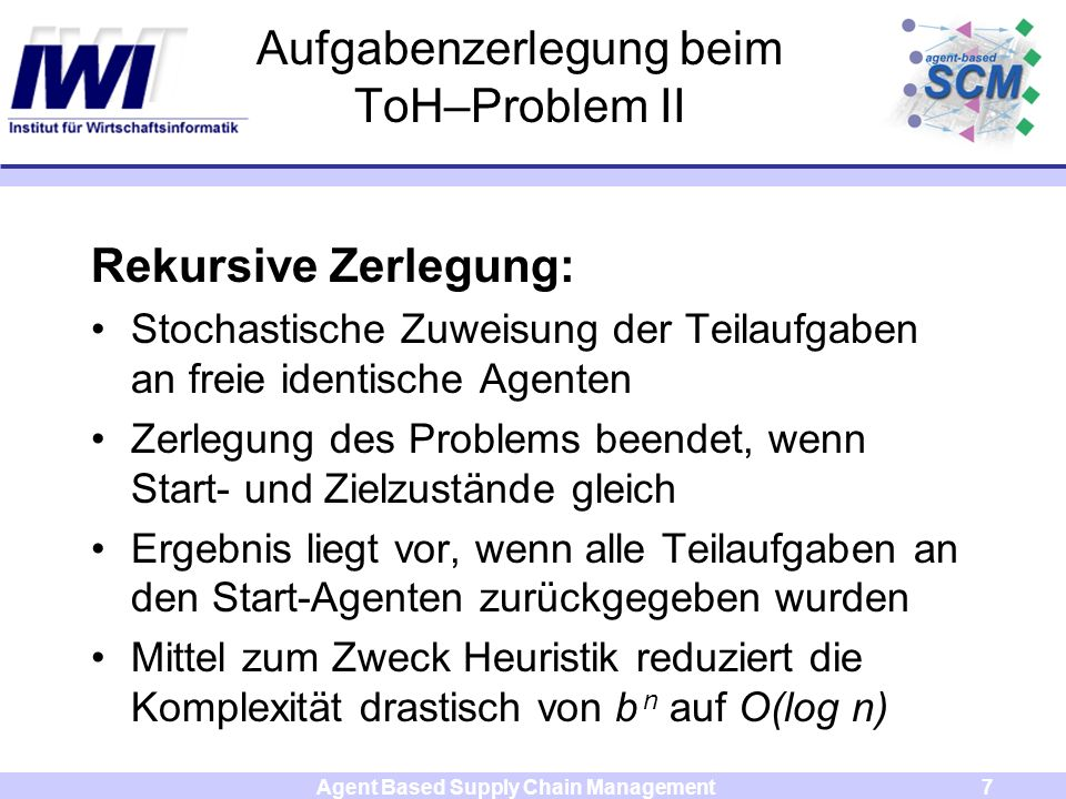 Agent Based Supply Chain Management7 Aufgabenzerlegung beim ToH–Problem II Rekursive Zerlegung: Stochastische Zuweisung der Teilaufgaben an freie iden