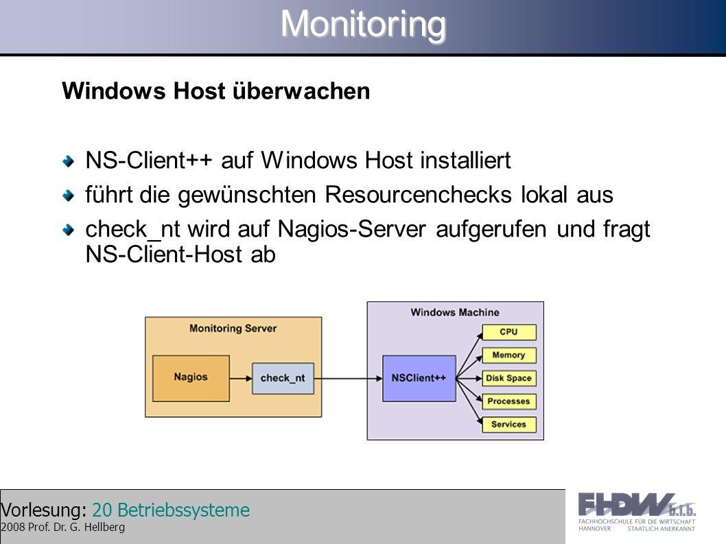 Vorlesung: 20 Betriebssysteme 2008 Prof. Dr. G. HellbergMonitoring Windows Host überwachen NS-Client++ auf Windows Host installiert führt die gewünsch
