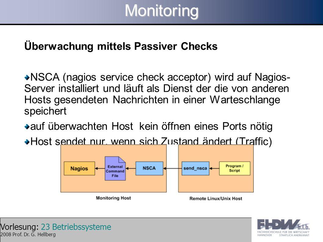Vorlesung: 23 Betriebssysteme 2008 Prof. Dr. G. HellbergMonitoring Überwachung mittels Passiver Checks NSCA (nagios service check acceptor) wird auf N