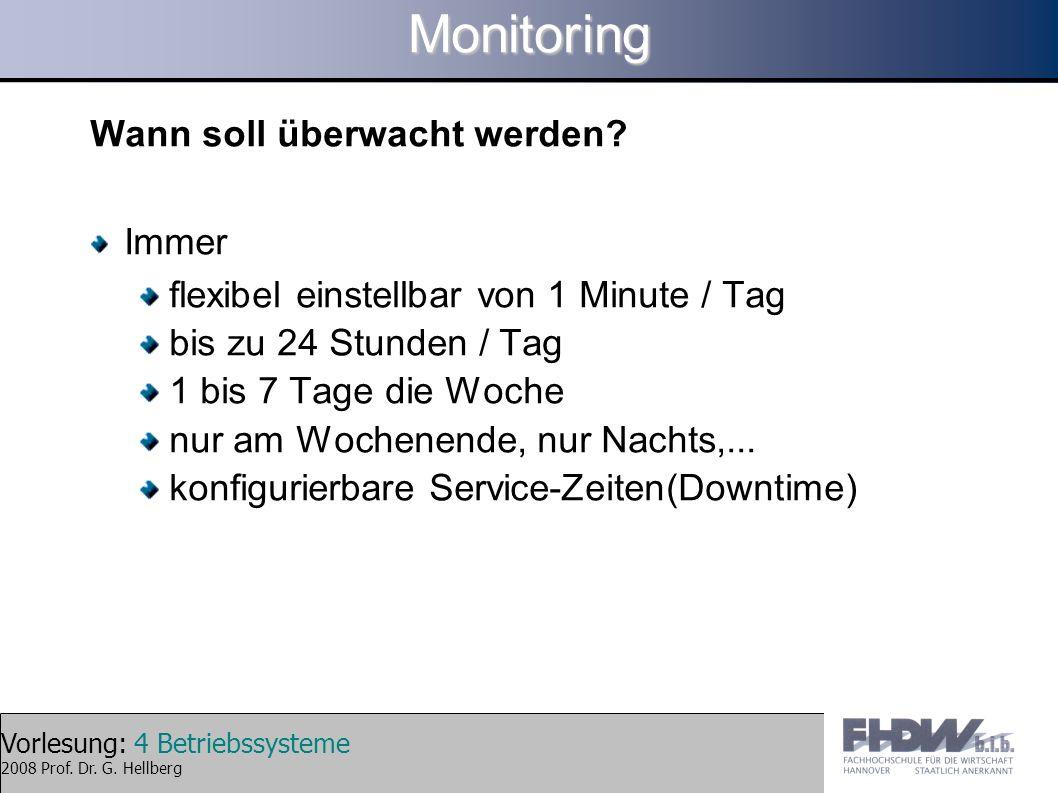 Vorlesung: 4 Betriebssysteme 2008 Prof. Dr. G. HellbergMonitoring Wann soll überwacht werden? Immer flexibel einstellbar von 1 Minute / Tag bis zu 24