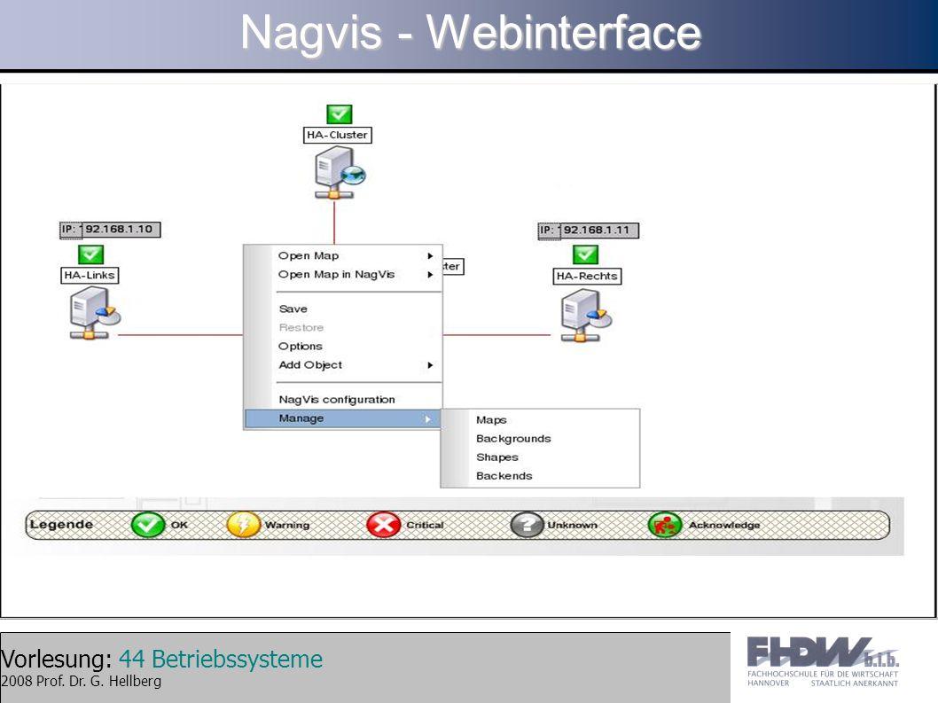 Vorlesung: 44 Betriebssysteme 2008 Prof. Dr. G. Hellberg Nagvis - Webinterface