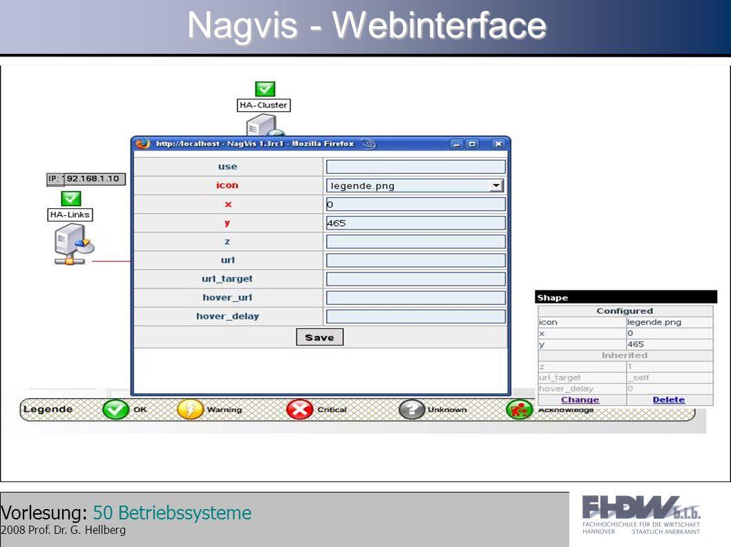 Vorlesung: 50 Betriebssysteme 2008 Prof. Dr. G. Hellberg Nagvis - Webinterface
