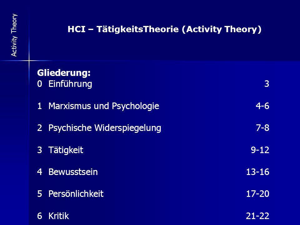 Activity Theory HCI – TätigkeitsTheorie (Activity Theory) Gliederung: 0Einführung3 1Marxismus und Psychologie 4-6 2Psychische Widerspiegelung 7-8 3Tät