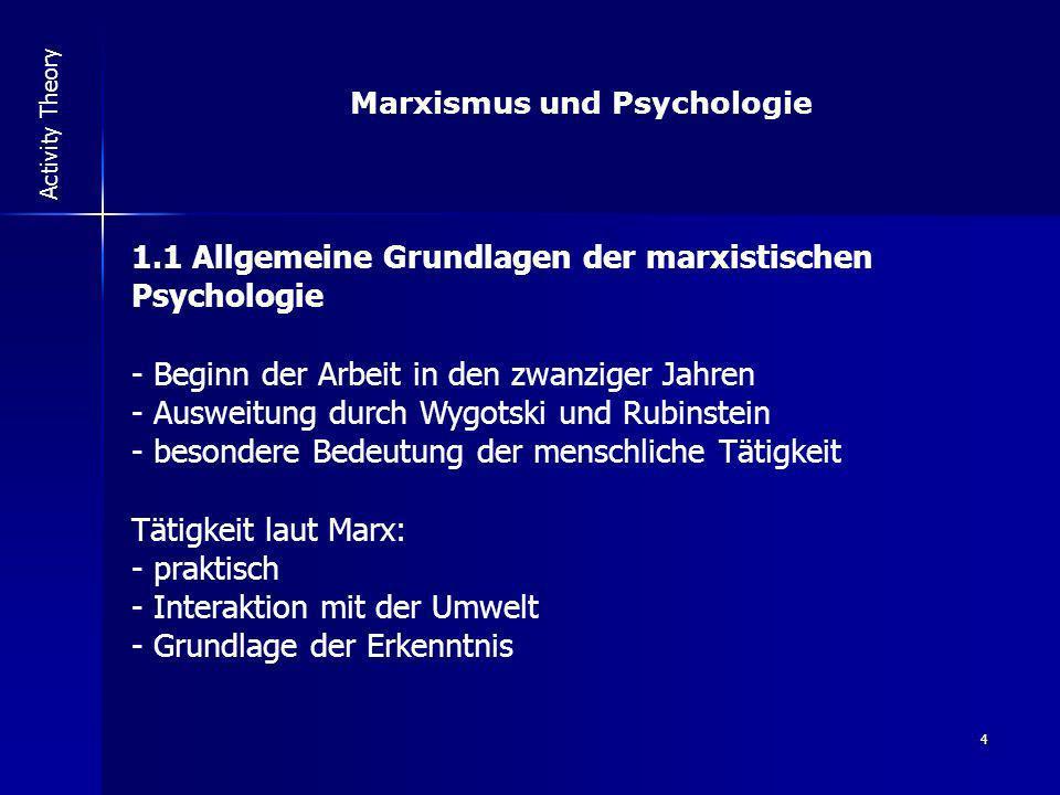 4 Activity Theory Marxismus und Psychologie 1.1 Allgemeine Grundlagen der marxistischen Psychologie - Beginn der Arbeit in den zwanziger Jahren - Ausw