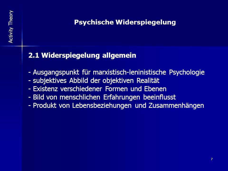 7 Activity Theory Psychische Widerspiegelung 2.1 Widerspiegelung allgemein - Ausgangspunkt für marxistisch-leninistische Psychologie - subjektives Abb