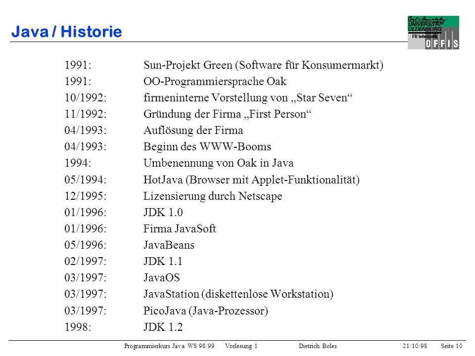 Programmierkurs Java WS 98/99 Vorlesung 1 Dietrich Boles 21/10/98Seite 10 Java / Historie 1991: Sun-Projekt Green (Software für Konsumermarkt) 1991:OO