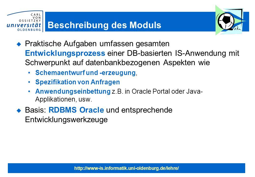 http://www-is.informatik.uni-oldenburg.de/lehre/ Beschreibung des Moduls u Praktische Aufgaben umfassen gesamten Entwicklungsprozess einer DB-basierten IS-Anwendung mit Schwerpunkt auf datenbankbezogenen Aspekten wie Schemaentwurf und -erzeugung, Spezifikation von Anfragen Anwendungseinbettung z.B.