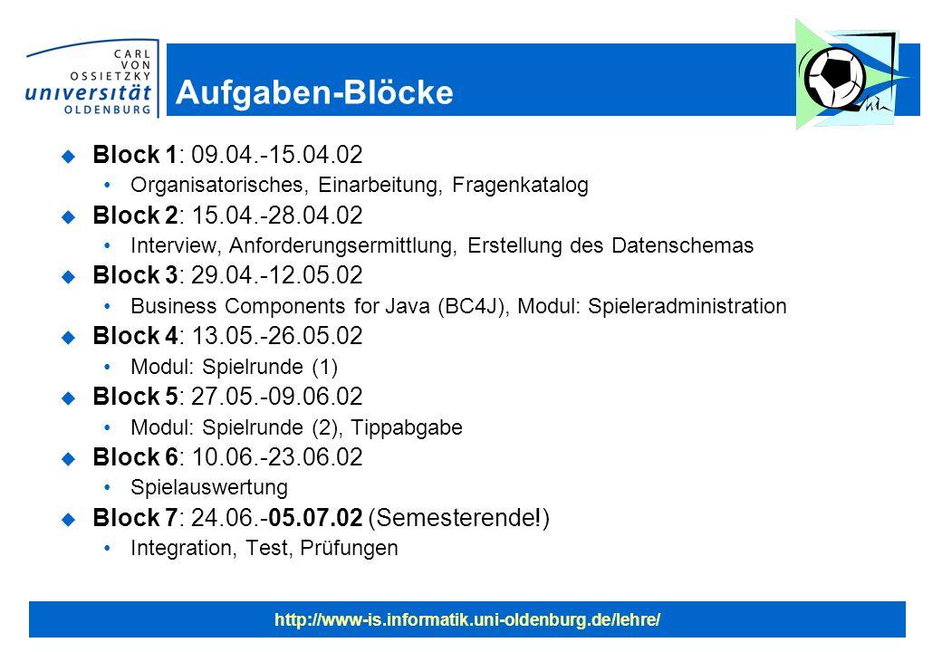 http://www-is.informatik.uni-oldenburg.de/lehre/ Aufgaben-Blöcke u Block 1: 09.04.-15.04.02 Organisatorisches, Einarbeitung, Fragenkatalog u Block 2: 15.04.-28.04.02 Interview, Anforderungsermittlung, Erstellung des Datenschemas u Block 3: 29.04.-12.05.02 Business Components for Java (BC4J), Modul: Spieleradministration u Block 4: 13.05.-26.05.02 Modul: Spielrunde (1) u Block 5: 27.05.-09.06.02 Modul: Spielrunde (2), Tippabgabe u Block 6: 10.06.-23.06.02 Spielauswertung u Block 7: 24.06.-05.07.02 (Semesterende!) Integration, Test, Prüfungen