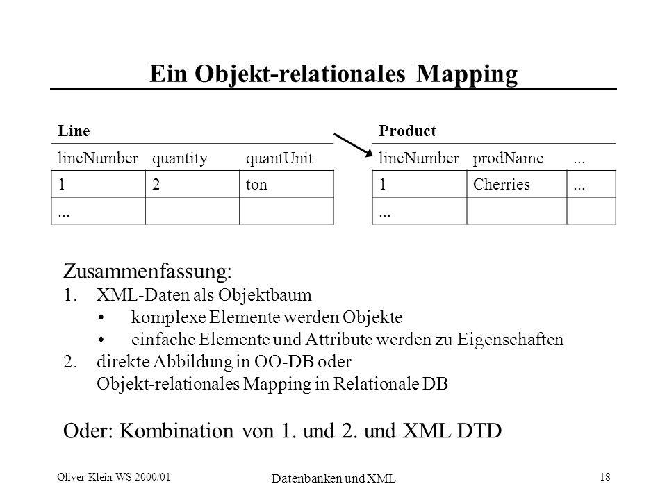 Oliver Klein WS 2000/01 Datenbanken und XML 18 Ein Objekt-relationales Mapping Line lineNumberquantityquantUnit 12ton...