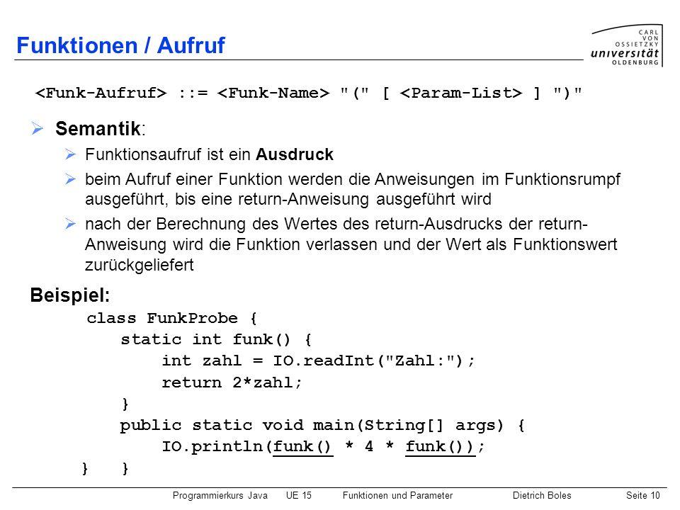 Programmierkurs JavaUE 15Funktionen und ParameterDietrich BolesSeite 10 Funktionen / Aufruf ::=