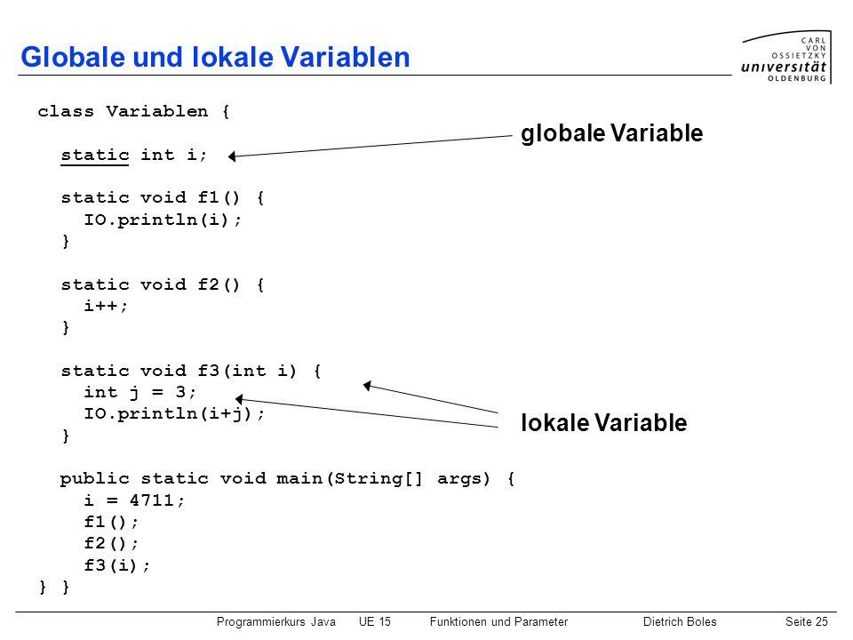 Programmierkurs JavaUE 15Funktionen und ParameterDietrich BolesSeite 25 Globale und lokale Variablen class Variablen { static int i; static void f1()