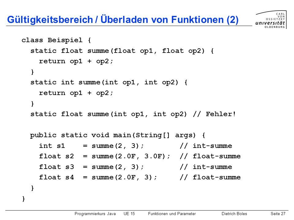 Programmierkurs JavaUE 15Funktionen und ParameterDietrich BolesSeite 27 Gültigkeitsbereich / Überladen von Funktionen (2) class Beispiel { static floa