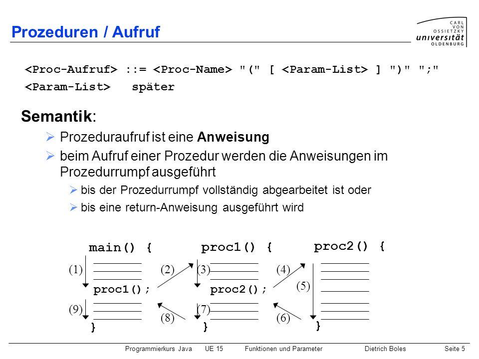 Programmierkurs JavaUE 15Funktionen und ParameterDietrich BolesSeite 5 Prozeduren / Aufruf ::=