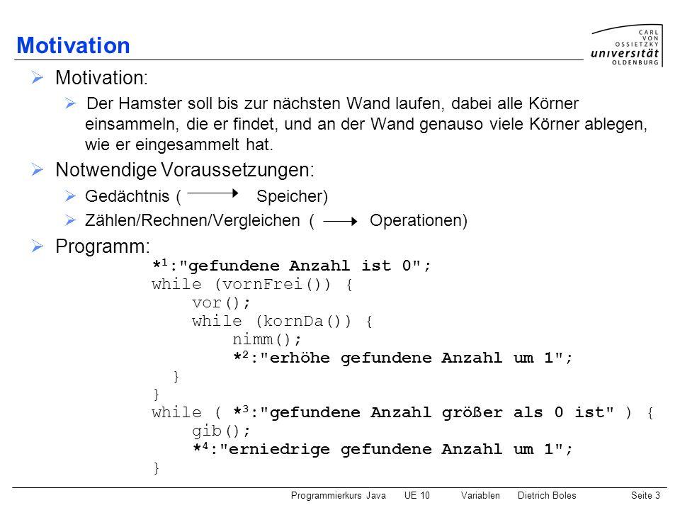 Programmierkurs JavaUE 10 VariablenDietrich BolesSeite 4 Variablen / Definition (1) Notwendig für * 1 : Reservierung von Speicherplatz(Variablendefinition) Festlegung eines Namens (Variablendeklaration) Festlegung des Typs (Datentypen) Initialer Wert(Initialisierung) hier: int anzahl = 0; Variablendeklaration/-definition: Deklaration: Bekanntgabe eines Namens für den Speicherbereich an den Compiler Definition: Reservierung von Platz im Hauptspeicher Programm Daten Hauptspeicher Gedächtnis