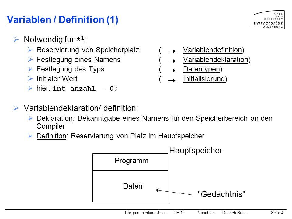 Programmierkurs JavaUE 10 VariablenDietrich BolesSeite 5 Variablen / Definition (2) Syntax: ::= = { , = } ; ::= int Semantik: Es wird Speicherplatz zum Speichern einer Zahl angelegt und initialisiert.