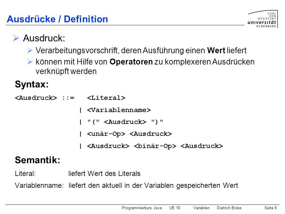 Programmierkurs JavaUE 10 VariablenDietrich BolesSeite 8 Ausdrücke / Definition Syntax: ::= | |