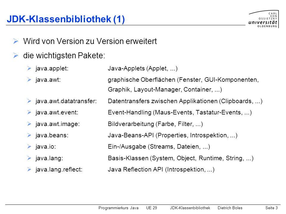 Programmierkurs JavaUE 29JDK-KlassenbibliothekDietrich BolesSeite 3 JDK-Klassenbibliothek (1) Wird von Version zu Version erweitert die wichtigsten Pa