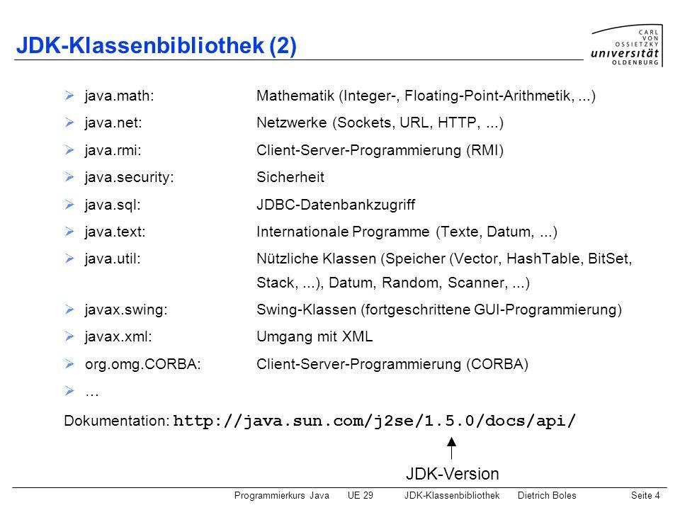 Programmierkurs JavaUE 29JDK-KlassenbibliothekDietrich BolesSeite 4 JDK-Klassenbibliothek (2) java.math:Mathematik (Integer-, Floating-Point-Arithmeti