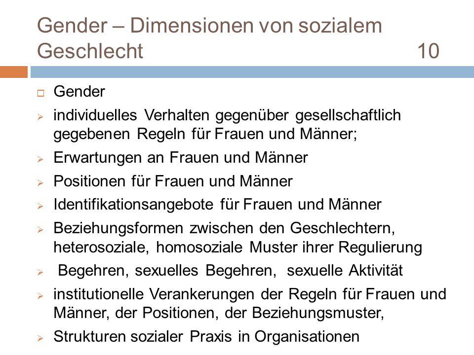 Gender – Dimensionen von sozialem Geschlecht 10 Gender individuelles Verhalten gegenüber gesellschaftlich gegebenen Regeln für Frauen und Männer; Erwa