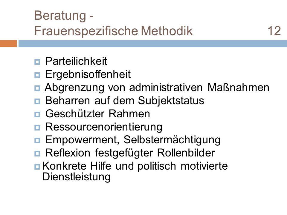 Beratung - Frauenspezifische Methodik 12 Parteilichkeit Ergebnisoffenheit Abgrenzung von administrativen Maßnahmen Beharren auf dem Subjektstatus Gesc
