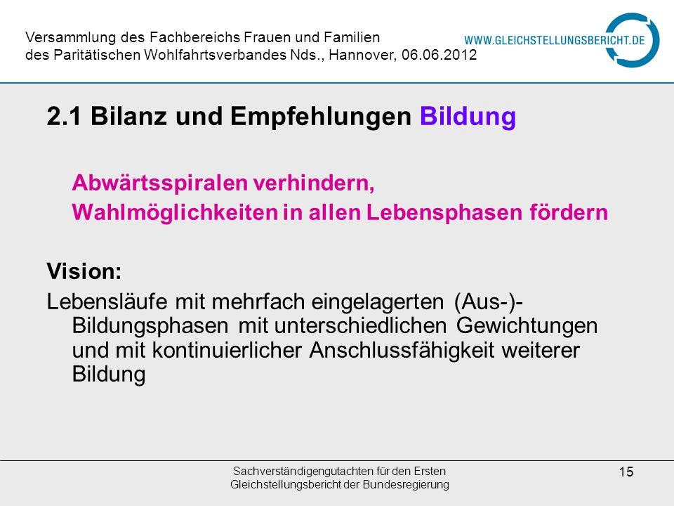 Sachverständigengutachten für den Ersten Gleichstellungsbericht der Bundesregierung 15 2.1 Bilanz und Empfehlungen Bildung Abwärtsspiralen verhindern,