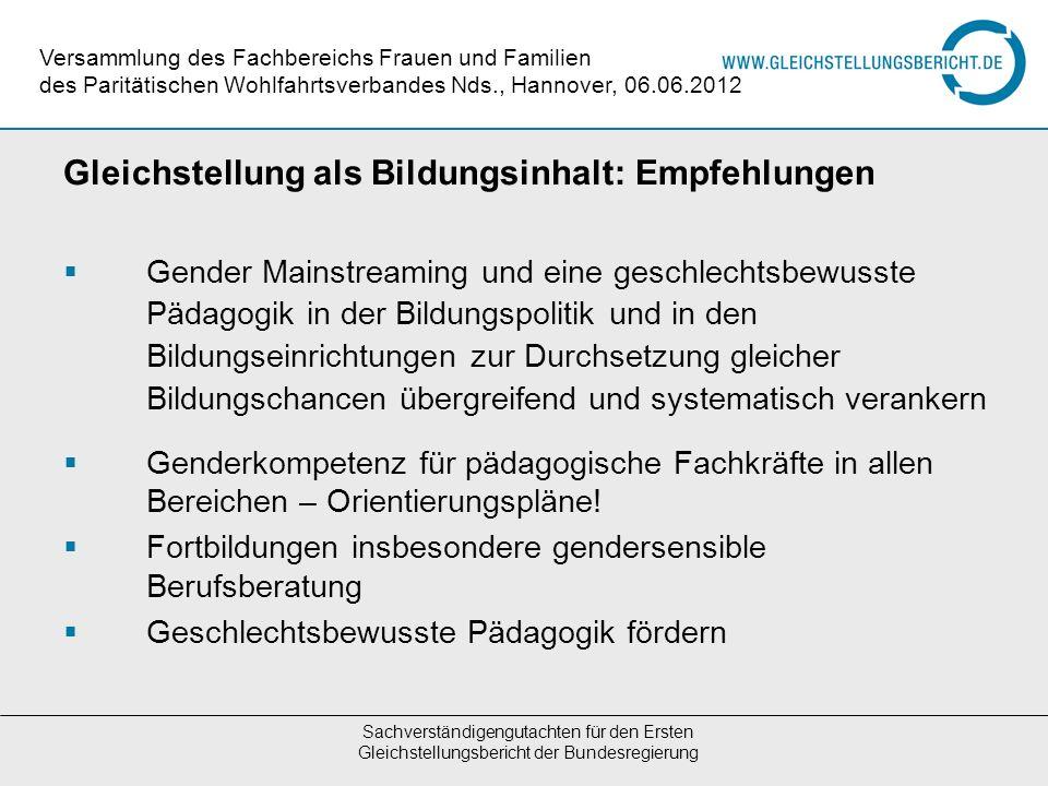 Gleichstellung als Bildungsinhalt: Empfehlungen Gender Mainstreaming und eine geschlechtsbewusste Pädagogik in der Bildungspolitik und in den Bildungs