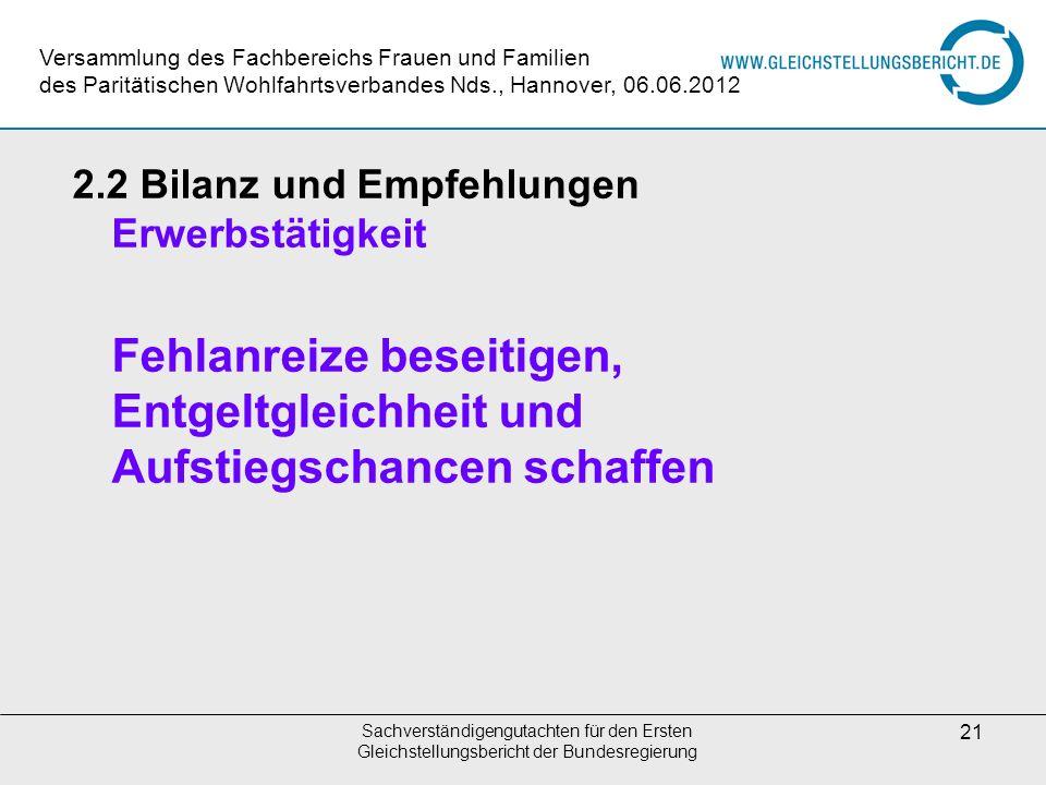 Sachverständigengutachten für den Ersten Gleichstellungsbericht der Bundesregierung 21 2.2 Bilanz und Empfehlungen Erwerbstätigkeit Fehlanreize beseit