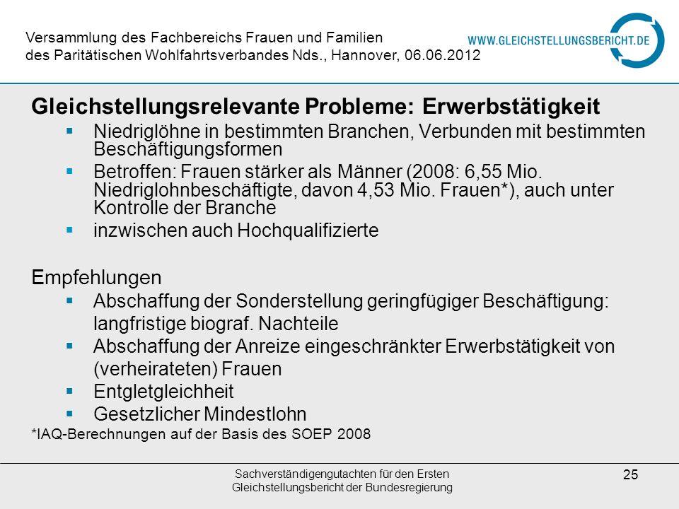 Sachverständigengutachten für den Ersten Gleichstellungsbericht der Bundesregierung 25 Gleichstellungsrelevante Probleme: Erwerbstätigkeit Niedriglöhn