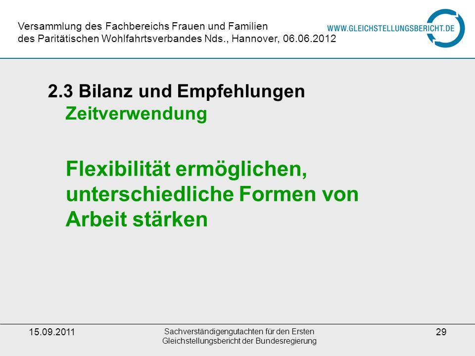 15.09.2011 Sachverständigengutachten für den Ersten Gleichstellungsbericht der Bundesregierung 29 2.3 Bilanz und Empfehlungen Zeitverwendung Flexibili