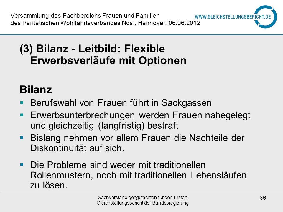 Sachverständigengutachten für den Ersten Gleichstellungsbericht der Bundesregierung 36 (3) Bilanz - Leitbild: Flexible Erwerbsverläufe mit Optionen Bi