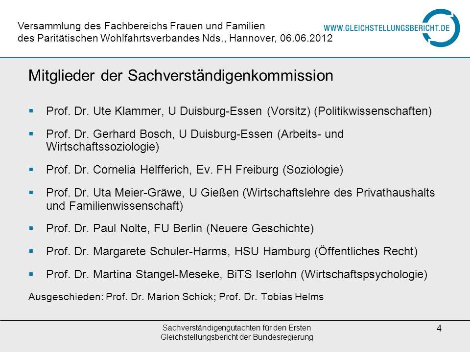 Sachverständigengutachten für den Ersten Gleichstellungsbericht der Bundesregierung 4 Mitglieder der Sachverständigenkommission Prof. Dr. Ute Klammer,
