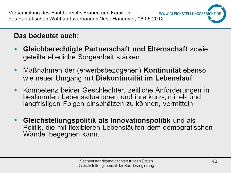 Sachverständigengutachten für den Ersten Gleichstellungsbericht der Bundesregierung 40 Das bedeutet auch: Gleichberechtigte Partnerschaft und Elternsc
