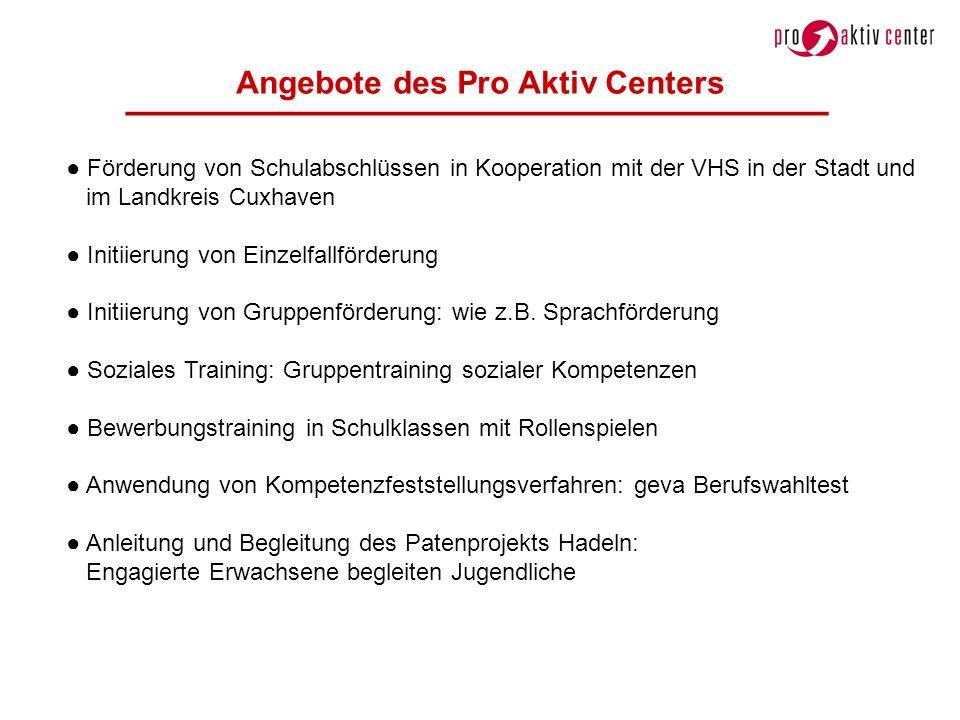 Angebote des Pro Aktiv Centers Förderung von Schulabschlüssen in Kooperation mit der VHS in der Stadt und im Landkreis Cuxhaven Initiierung von Einzel