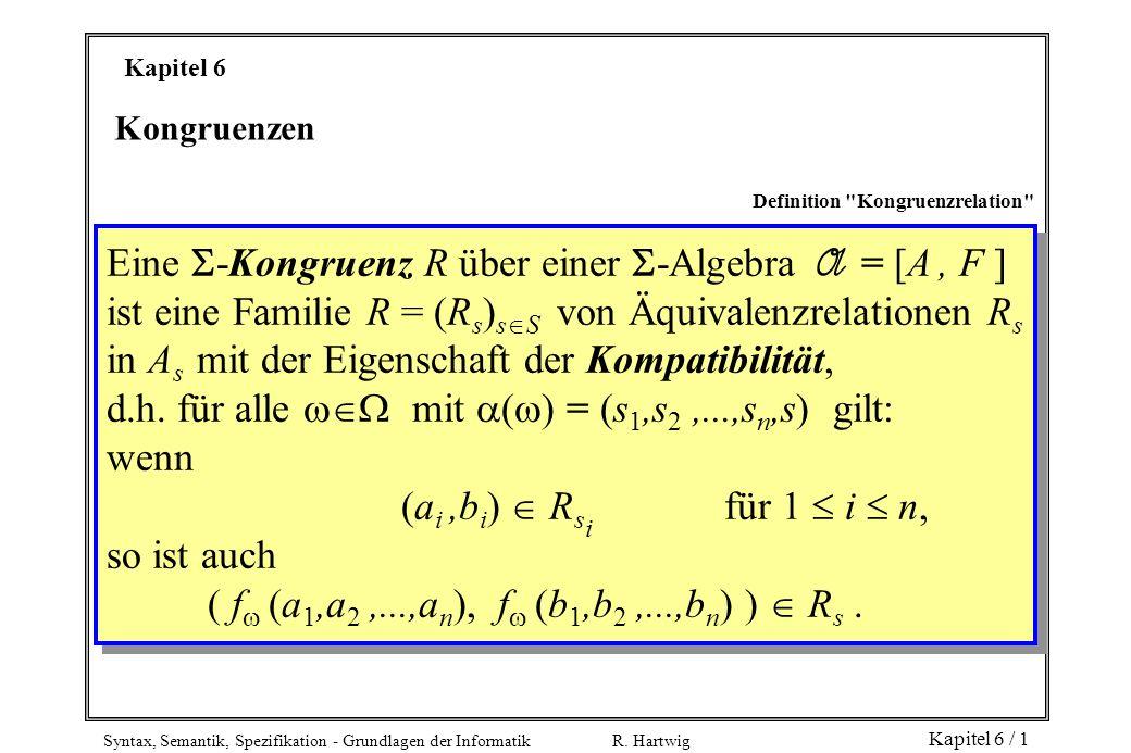 Syntax, Semantik, Spezifikation - Grundlagen der Informatik R. Hartwig Kapitel 6 / 1 Kapitel 6 Kongruenzen Definition