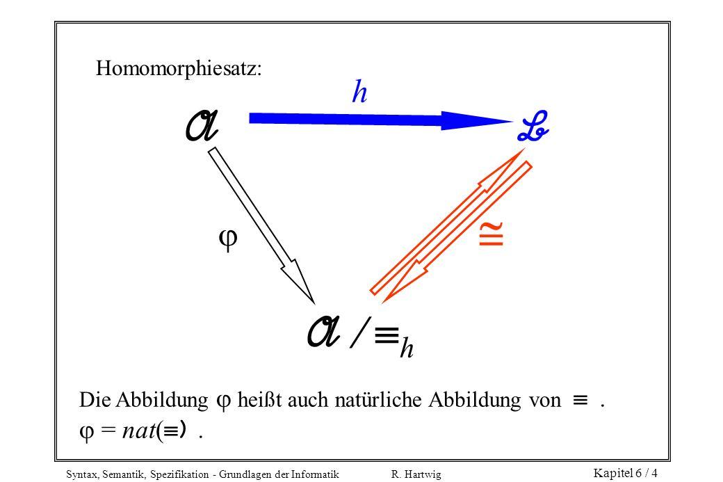 Syntax, Semantik, Spezifikation - Grundlagen der Informatik R. Hartwig Kapitel 6 / 4 A B A h Homomorphiesatz: h Die Abbildung heißt auch natürliche Ab