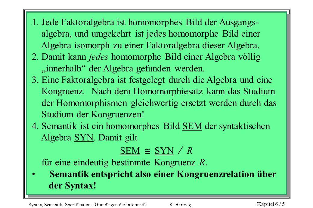 Syntax, Semantik, Spezifikation - Grundlagen der Informatik R. Hartwig Kapitel 6 / 5 1. Jede Faktoralgebra ist homomorphes Bild der Ausgangs- algebra,