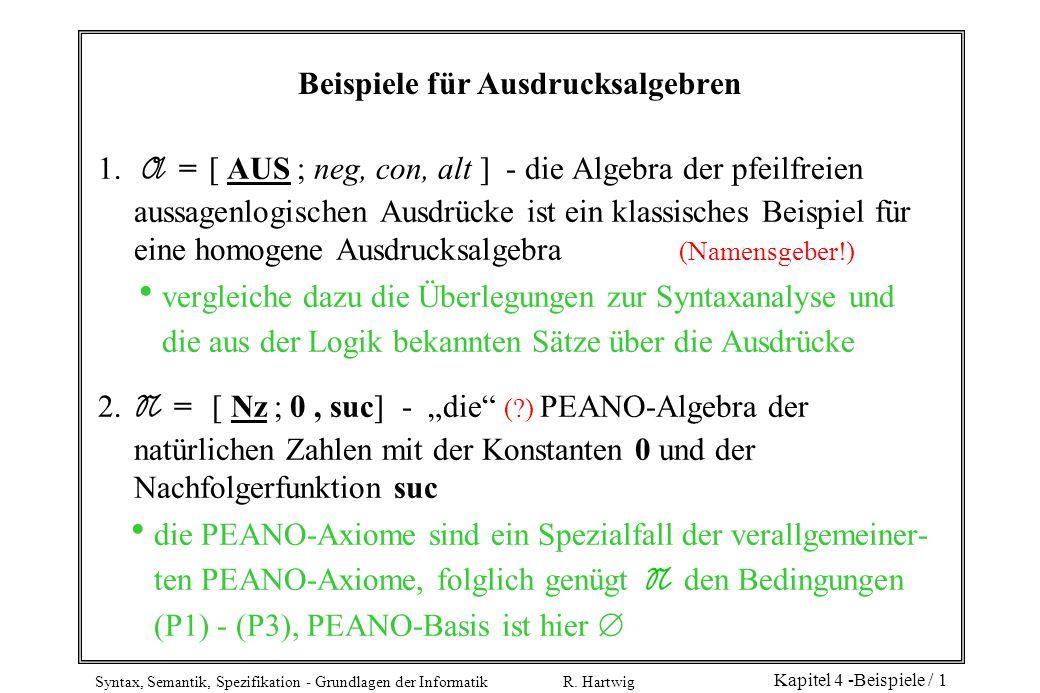 Syntax, Semantik, Spezifikation - Grundlagen der Informatik R. Hartwig Kapitel 4 -Beispiele / 1 Beispiele für Ausdrucksalgebren 1. A = [ AUS ; neg, co