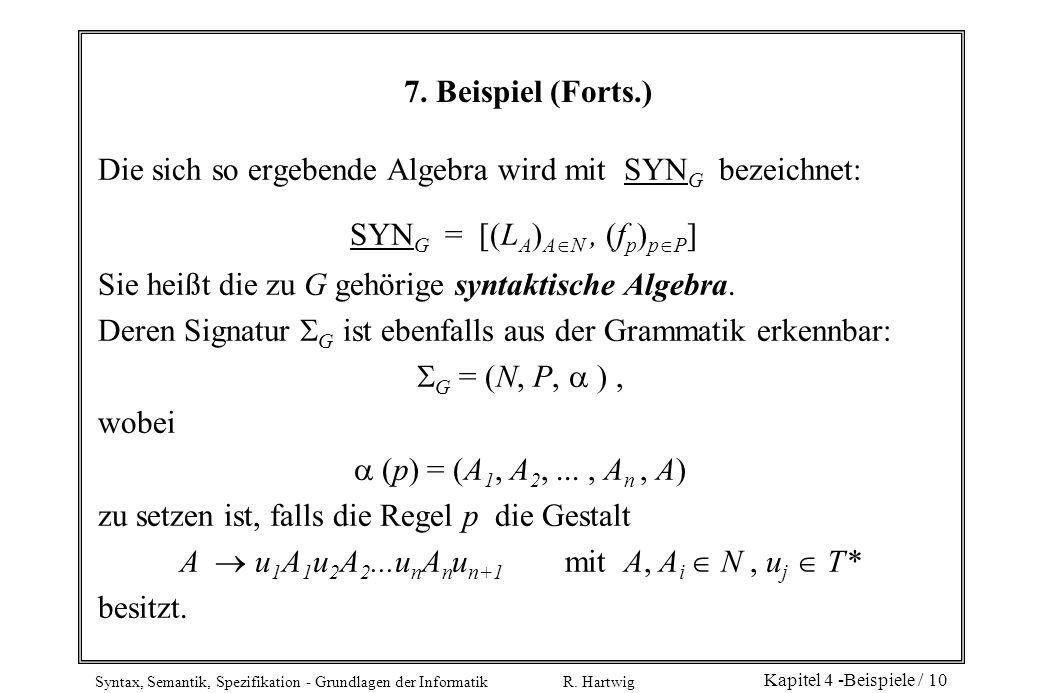 Syntax, Semantik, Spezifikation - Grundlagen der Informatik R. Hartwig Kapitel 4 -Beispiele / 10 7. Beispiel (Forts.) Die sich so ergebende Algebra wi