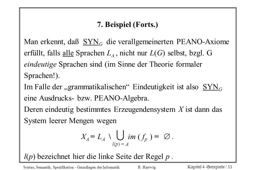 Syntax, Semantik, Spezifikation - Grundlagen der Informatik R. Hartwig Kapitel 4 -Beispiele / 11 7. Beispiel (Forts.) Man erkennt, daß SYN G die veral