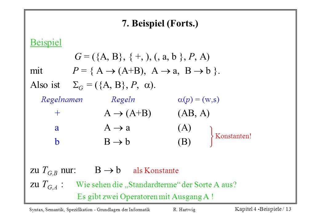 Syntax, Semantik, Spezifikation - Grundlagen der Informatik R. Hartwig Kapitel 4 -Beispiele / 13 7. Beispiel (Forts.) Beispiel G = ({A, B}, { +, ), (,