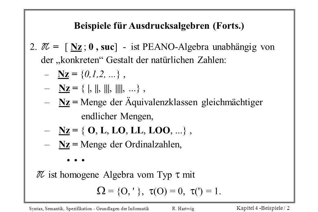 Syntax, Semantik, Spezifikation - Grundlagen der Informatik R. Hartwig Kapitel 4 -Beispiele / 2 Beispiele für Ausdrucksalgebren (Forts.) 2. N = [ Nz ;