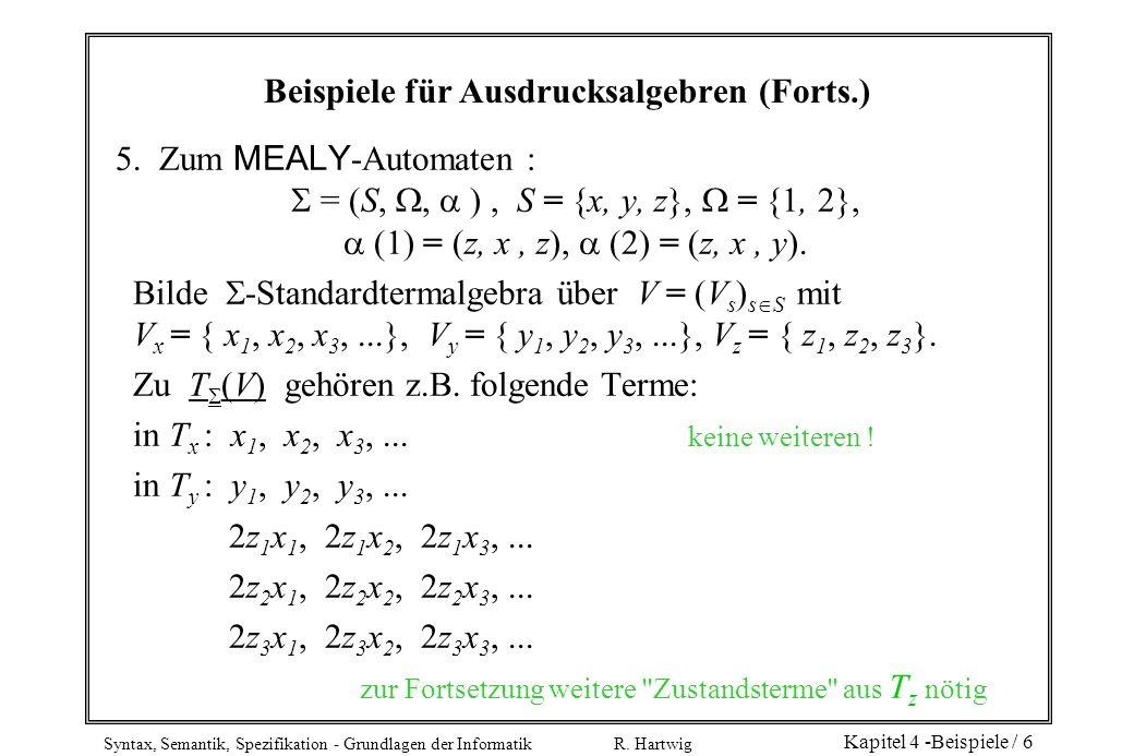 Syntax, Semantik, Spezifikation - Grundlagen der Informatik R. Hartwig Kapitel 4 -Beispiele / 6 Beispiele für Ausdrucksalgebren (Forts.) 5. Zum MEALY